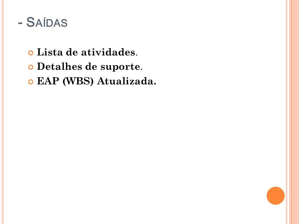- S AÍDAS Lista de atividades. Detalhes de suporte. EAP (WBS) Atualizada.