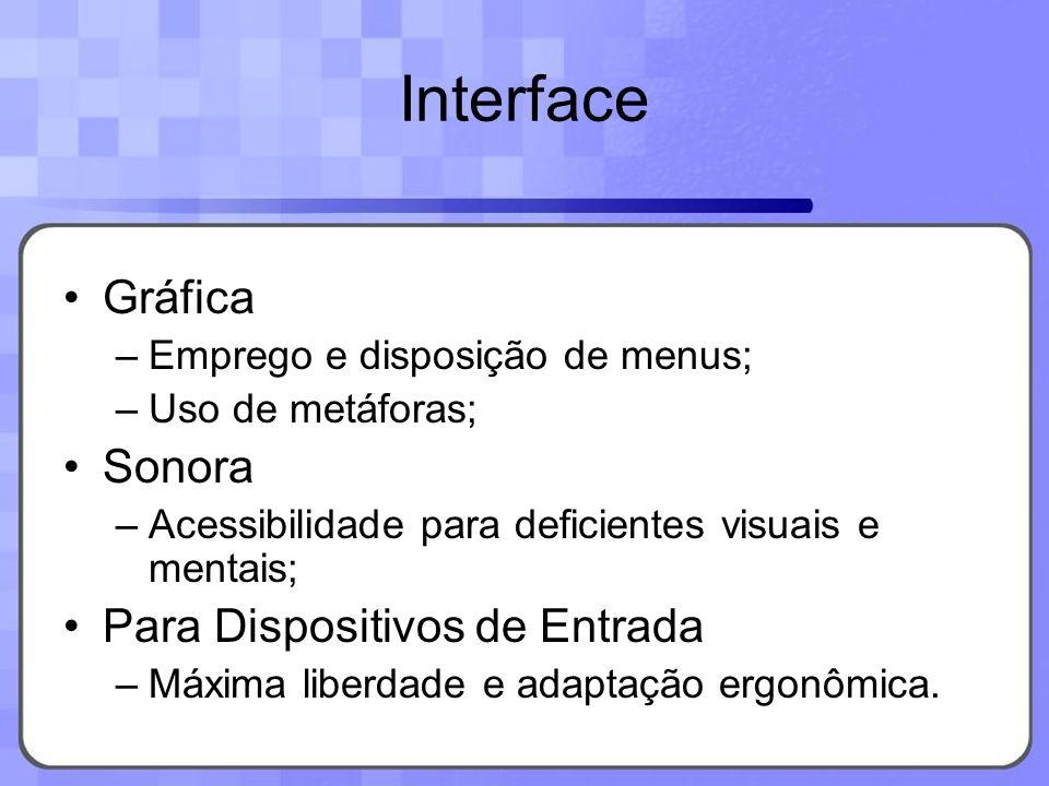 Gráfica –Emprego e disposição de menus; –Uso de metáforas; Sonora –Acessibilidade para deficientes visuais e mentais; Para Dispositivos de Entrada –Má
