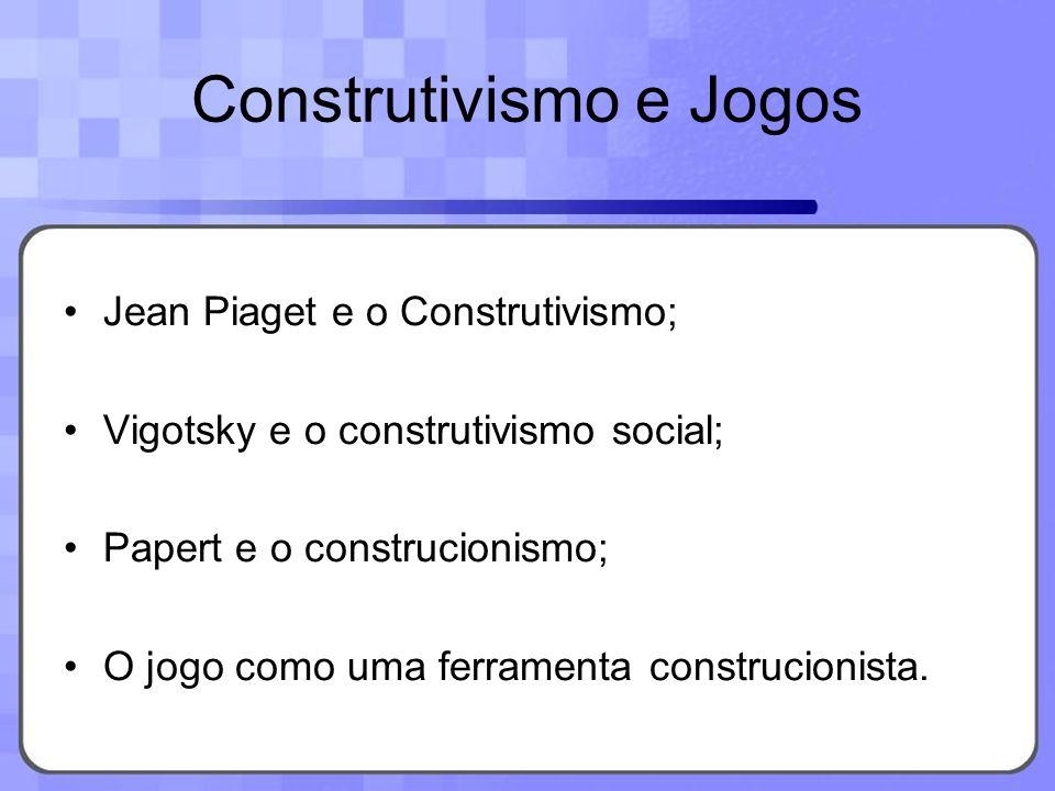Construtivismo e Jogos Jean Piaget e o Construtivismo; Vigotsky e o construtivismo social; Papert e o construcionismo; O jogo como uma ferramenta cons