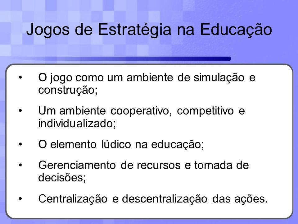 Jogos de Estratégia na Educação O jogo como um ambiente de simulação e construção; Um ambiente cooperativo, competitivo e individualizado; O elemento