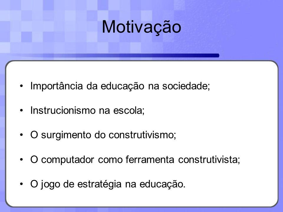 Motivação Importância da educação na sociedade; Instrucionismo na escola; O surgimento do construtivismo; O computador como ferramenta construtivista;