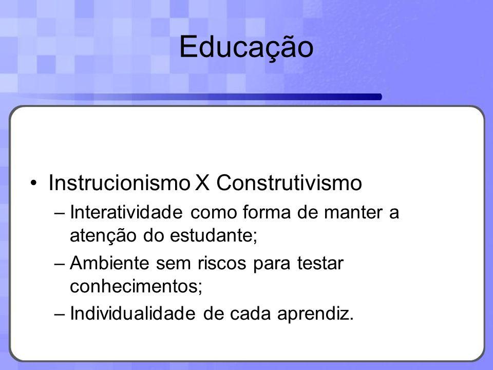 Educação Instrucionismo X Construtivismo –Interatividade como forma de manter a atenção do estudante; –Ambiente sem riscos para testar conhecimentos;