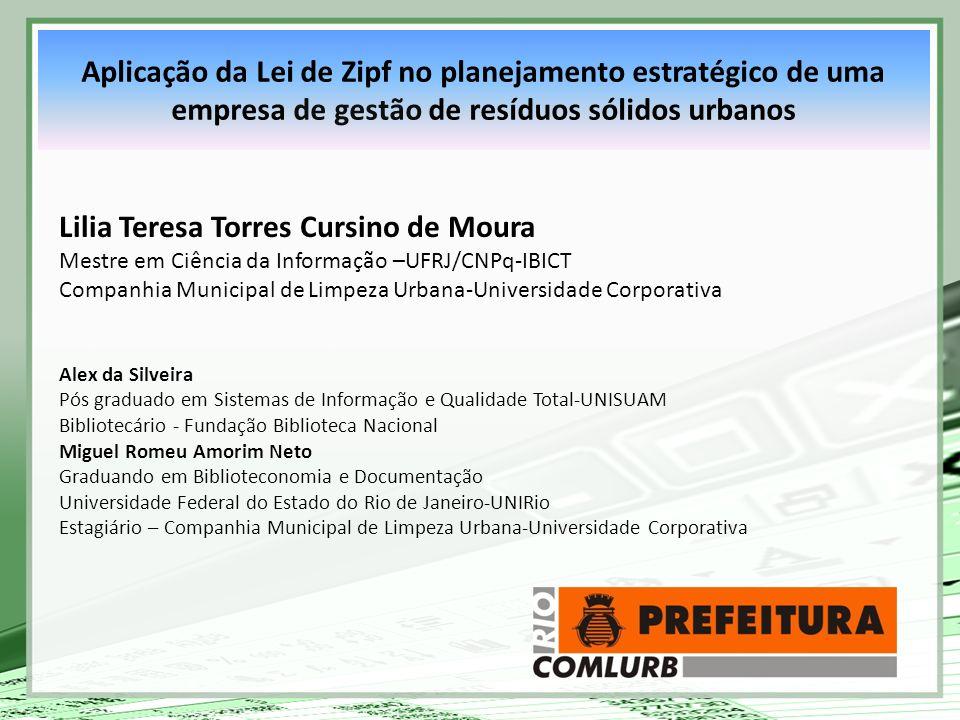 Aplicação da Lei de Zipf no planejamento estratégico de uma empresa de gestão de resíduos sólidos urbanos Lilia Teresa Torres Cursino de Moura Mestre