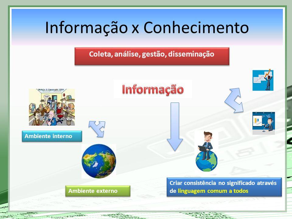 Criar consistência no significado através de linguagem comum a todos Ambiente externo Ambiente interno Coleta, análise, gestão, disseminação Informaçã