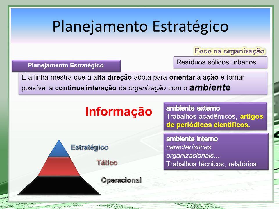 É a linha mestra que a alta direção adota para orientar a ação e tornar possível a contínua interação da organização com o ambiente Planejamento Estra
