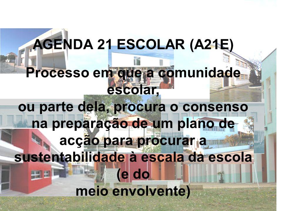 AGENDA 21 ESCOLAR (A21E) Processo em que a comunidade escolar, ou parte dela, procura o consenso na preparação de um plano de acção para procurar a su