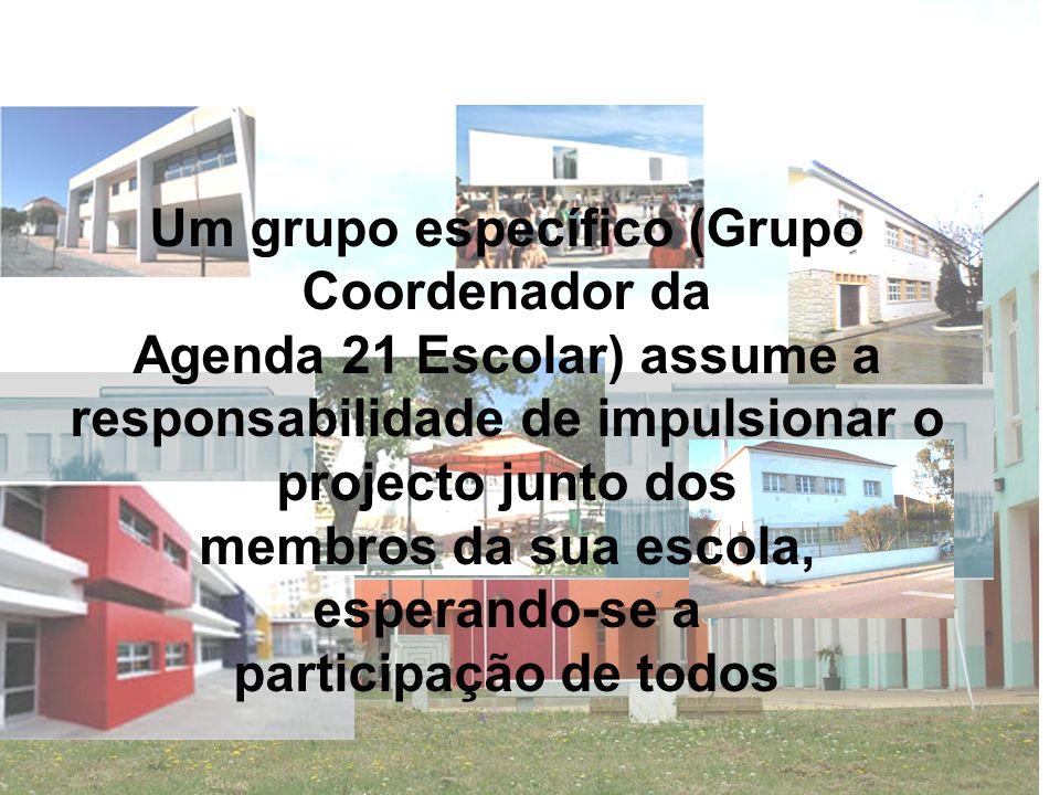 Um grupo específico (Grupo Coordenador da Agenda 21 Escolar) assume a responsabilidade de impulsionar o projecto junto dos membros da sua escola, espe