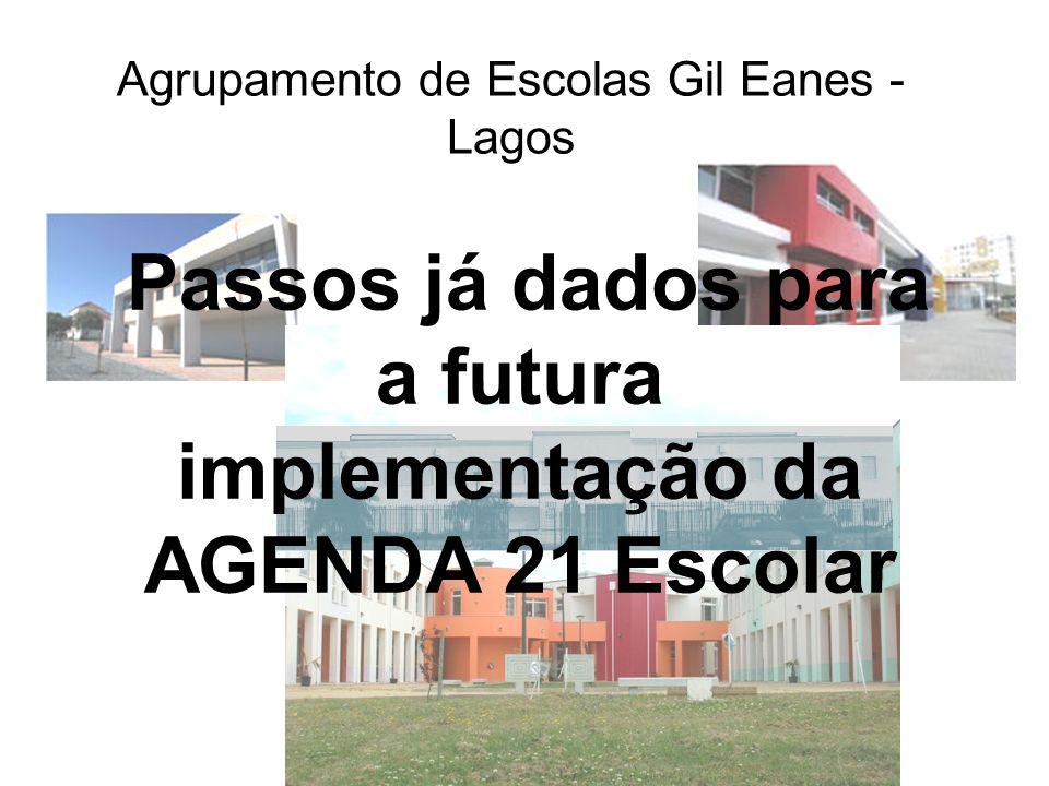 Agrupamento de Escolas Gil Eanes - Lagos Passos já dados para a futura implementação da AGENDA 21 Escolar