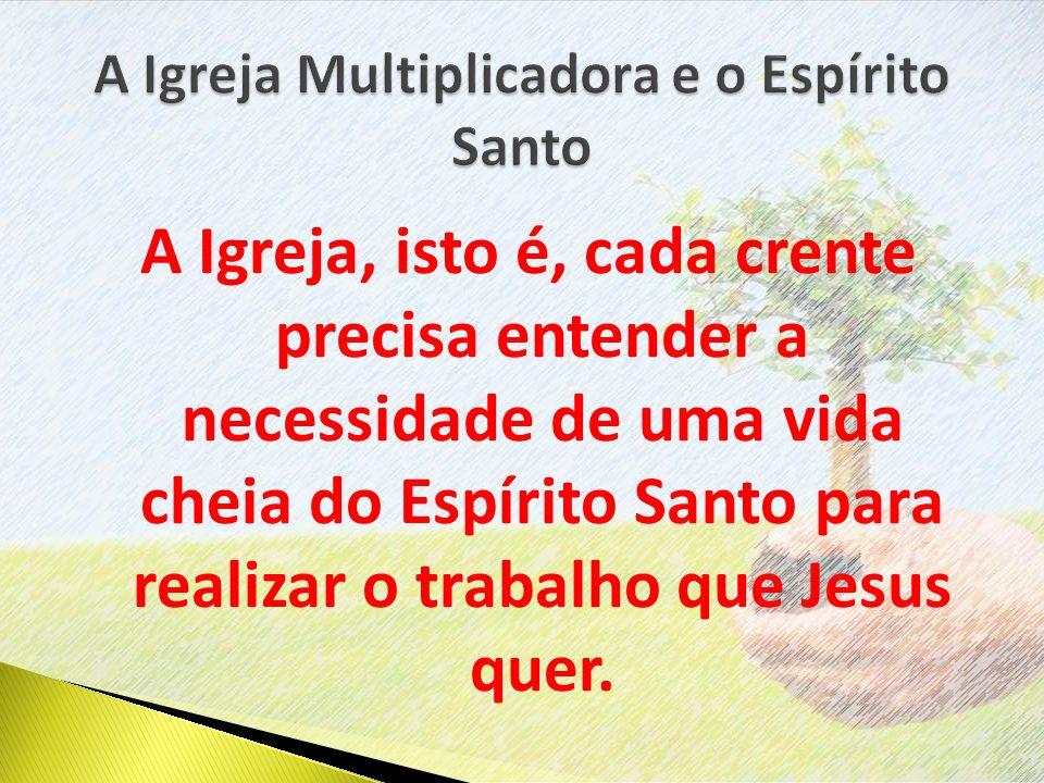 A Igreja, isto é, cada crente precisa entender a necessidade de uma vida cheia do Espírito Santo para realizar o trabalho que Jesus quer.
