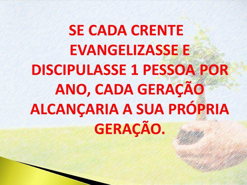 SE CADA CRENTE EVANGELIZASSE E DISCIPULASSE 1 PESSOA POR ANO, CADA GERAÇÃO ALCANÇARIA A SUA PRÓPRIA GERAÇÃO.