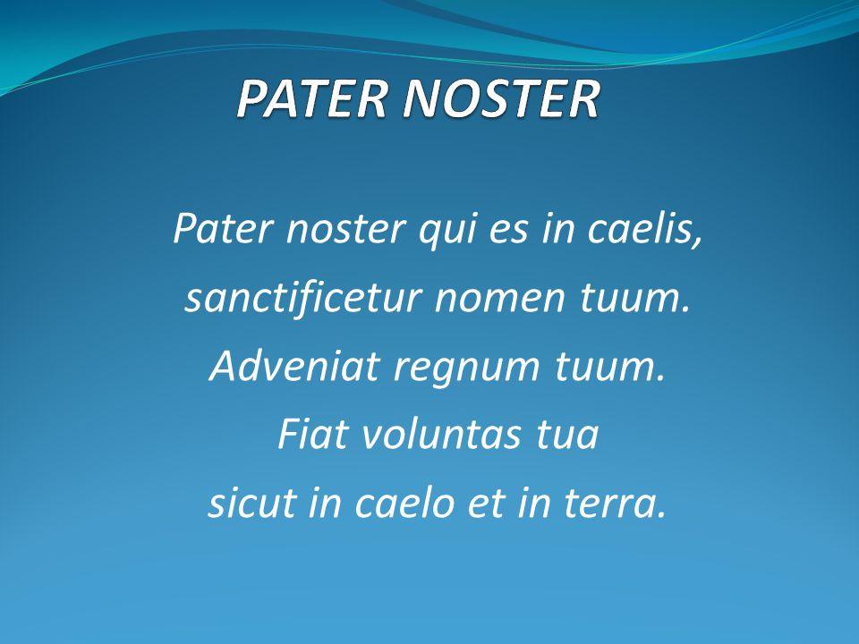 Pater noster qui es in caelis, sanctificetur nomen tuum. Adveniat regnum tuum. Fiat voluntas tua sicut in caelo et in terra.