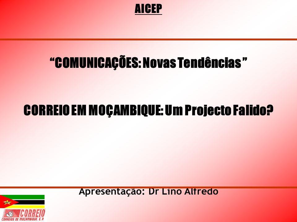 AICEP COMUNICAÇÕES: Novas Tendências CORREIO EM MOÇAMBIQUE: Um Projecto Falido? Apresentação: Dr Lino Alfredo