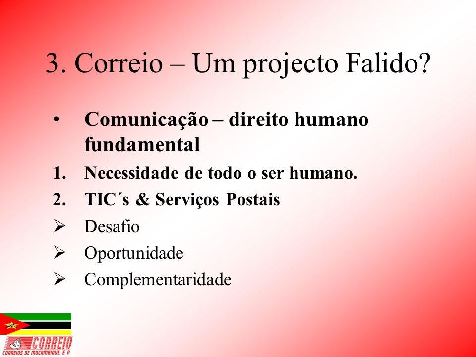 3. Correio – Um projecto Falido? Comunicação – direito humano fundamental 1.Necessidade de todo o ser humano. 2.TIC´s & Serviços Postais Desafio Oport