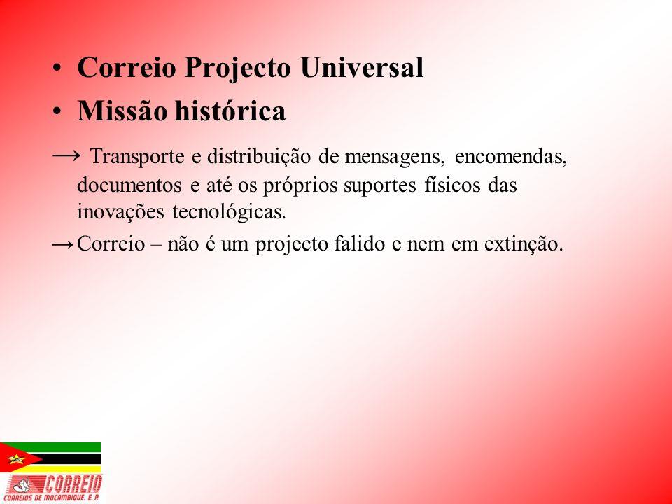 Correio Projecto Universal Missão histórica Transporte e distribuição de mensagens, encomendas, documentos e até os próprios suportes físicos das inov