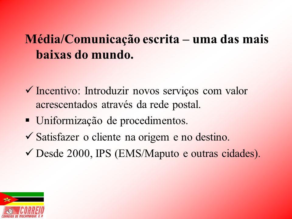 Média/Comunicação escrita – uma das mais baixas do mundo. Incentivo: Introduzir novos serviços com valor acrescentados através da rede postal. Uniform