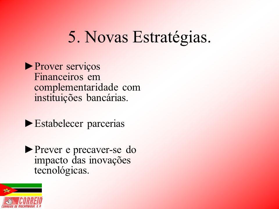 5. Novas Estratégias. Prover serviços Financeiros em complementaridade com instituições bancárias. Estabelecer parcerias Prever e precaver-se do impac