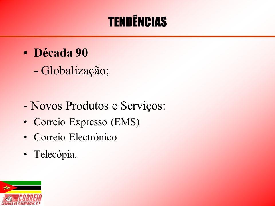 Década 90 - Globalização; - Novos Produtos e Serviços: Correio Expresso (EMS) Correio Electrónico Telecópia. TENDÊNCIAS