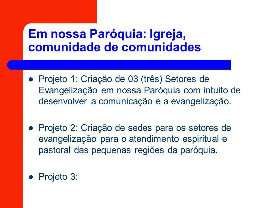 Em nossa Paróquia: Igreja, comunidade de comunidades Projeto 1: Criação de 03 (três) Setores de Evangelização em nossa Paróquia com intuito de desenvo