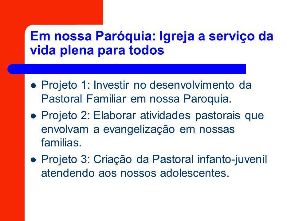 Em nossa Paróquia: Igreja a serviço da vida plena para todos Projeto 1: Investir no desenvolvimento da Pastoral Familiar em nossa Paroquia. Projeto 2: