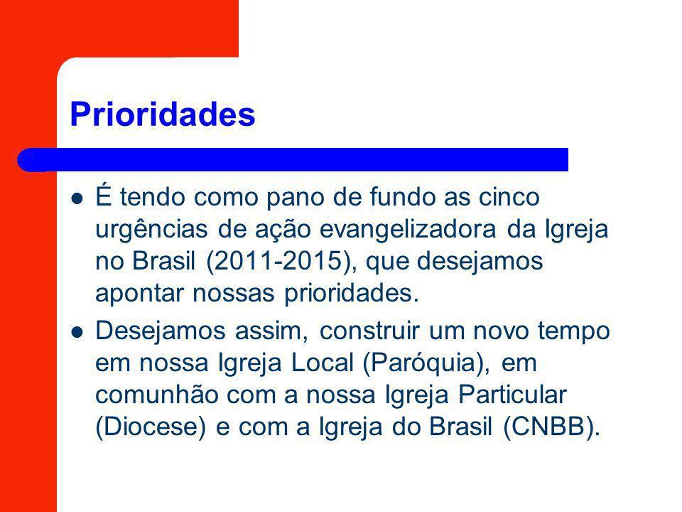 Prioridades É tendo como pano de fundo as cinco urgências de ação evangelizadora da Igreja no Brasil (2011-2015), que desejamos apontar nossas priorid