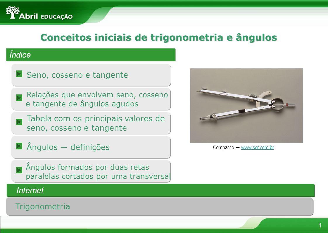 Seno, cosseno e tangente 1 Conceitos iniciais de trigonometria e ângulos Índice Internet Compasso www.ser.com.brwww.ser.com.br Trigonometria Ângulos d
