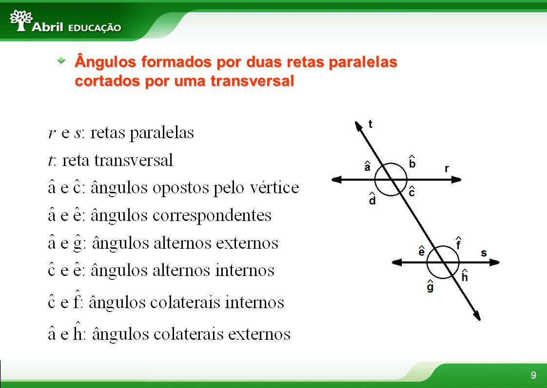 9 Ângulos formados por duas retas paralelas cortados por uma transversal