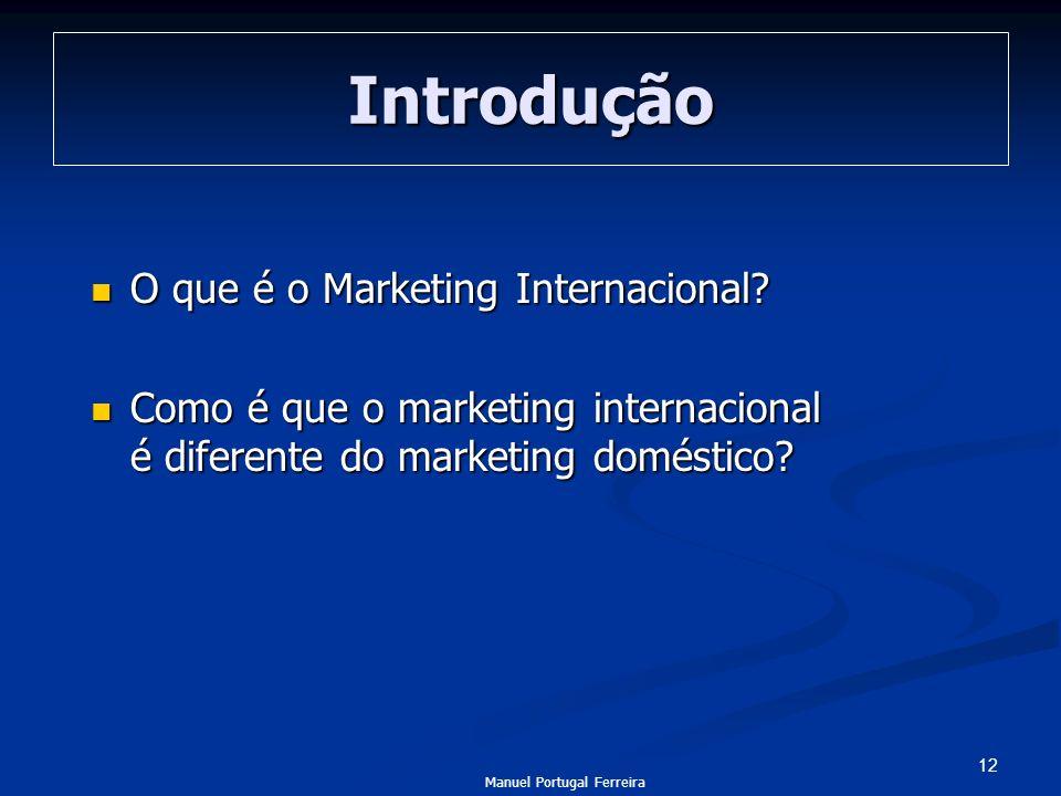 12 Introdução O que é o Marketing Internacional? O que é o Marketing Internacional? Como é que o marketing internacional é diferente do marketing domé
