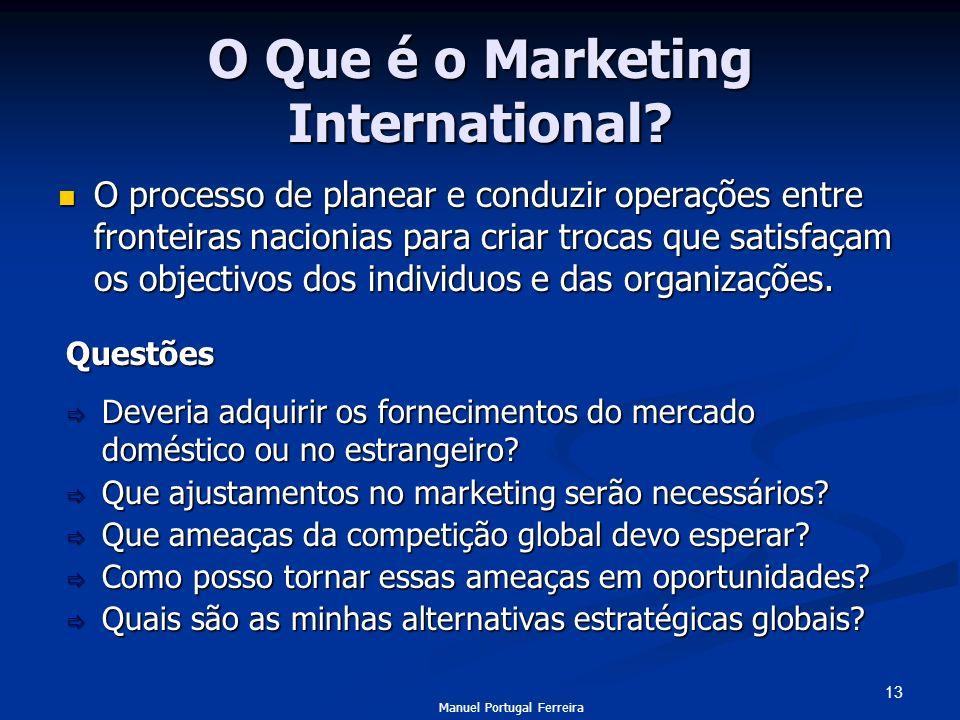 13 O Que é o Marketing International? O processo de planear e conduzir operações entre fronteiras nacionias para criar trocas que satisfaçam os object
