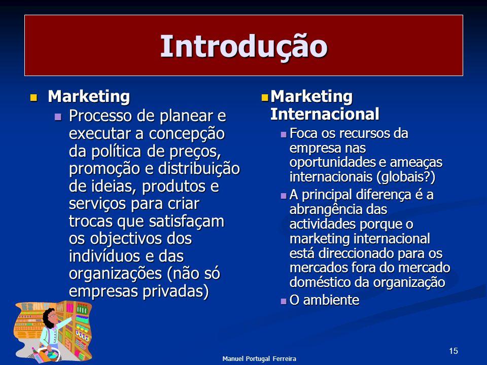 15 Introdução Marketing Marketing Processo de planear e executar a concepção da política de preços, promoção e distribuição de ideias, produtos e serv