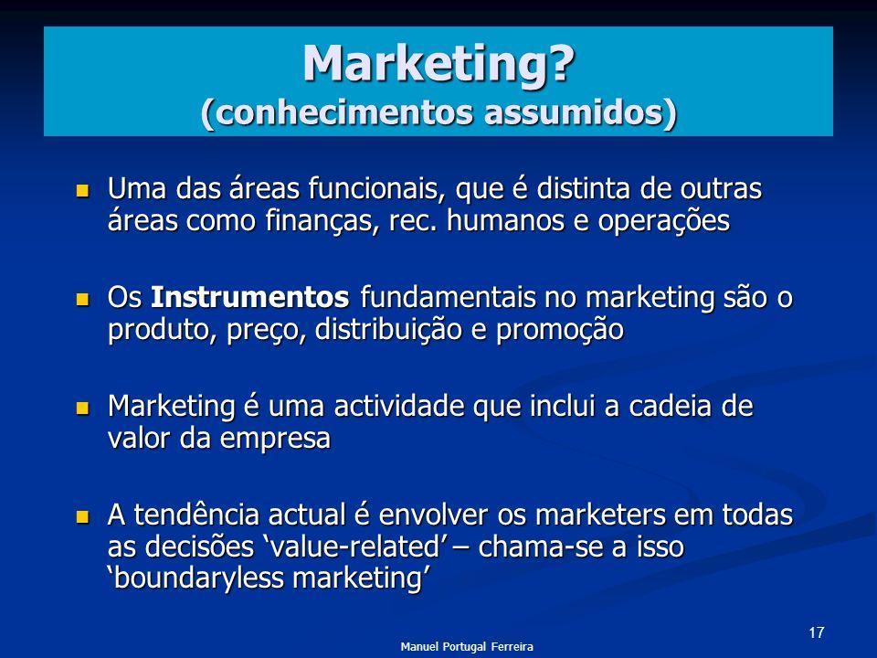 17 Marketing? (conhecimentos assumidos) Uma das áreas funcionais, que é distinta de outras áreas como finanças, rec. humanos e operações Uma das áreas