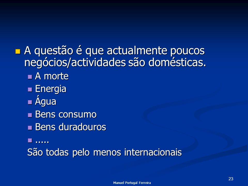 23 A questão é que actualmente poucos negócios/actividades são domésticas. A questão é que actualmente poucos negócios/actividades são domésticas. A m