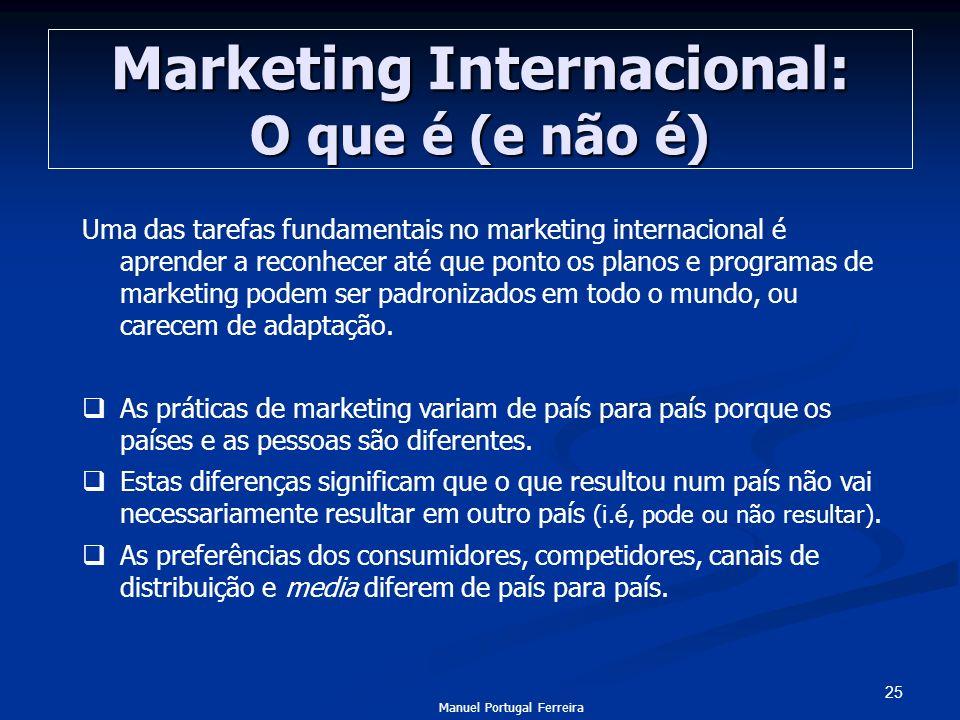 25 Marketing Internacional: O que é (e não é) Uma das tarefas fundamentais no marketing internacional é aprender a reconhecer até que ponto os planos