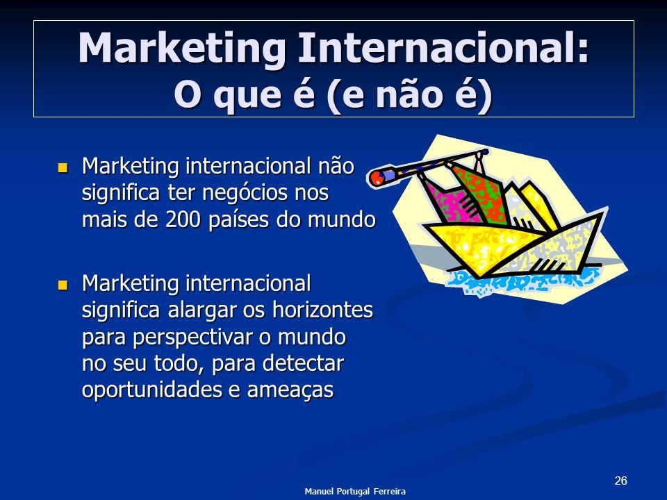 26 Marketing Internacional: O que é (e não é) Marketing internacional não significa ter negócios nos mais de 200 países do mundo Marketing internacion