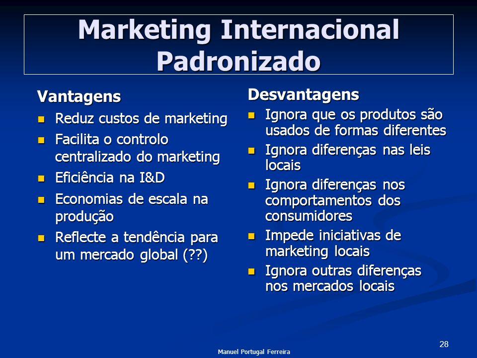28 Marketing Internacional Padronizado Vantagens Reduz custos de marketing Reduz custos de marketing Facilita o controlo centralizado do marketing Fac
