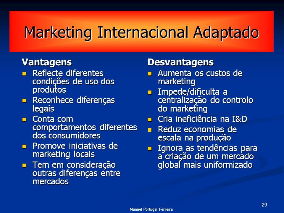 29 Marketing Internacional Adaptado Vantagens Reflecte diferentes condições de uso dos produtos Reflecte diferentes condições de uso dos produtos Reco