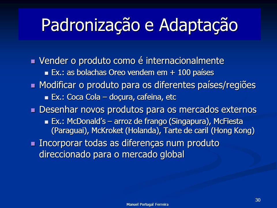 30 Padronização e Adaptação Vender o produto como é internacionalmente Vender o produto como é internacionalmente Ex.: as bolachas Oreo vendem em + 10