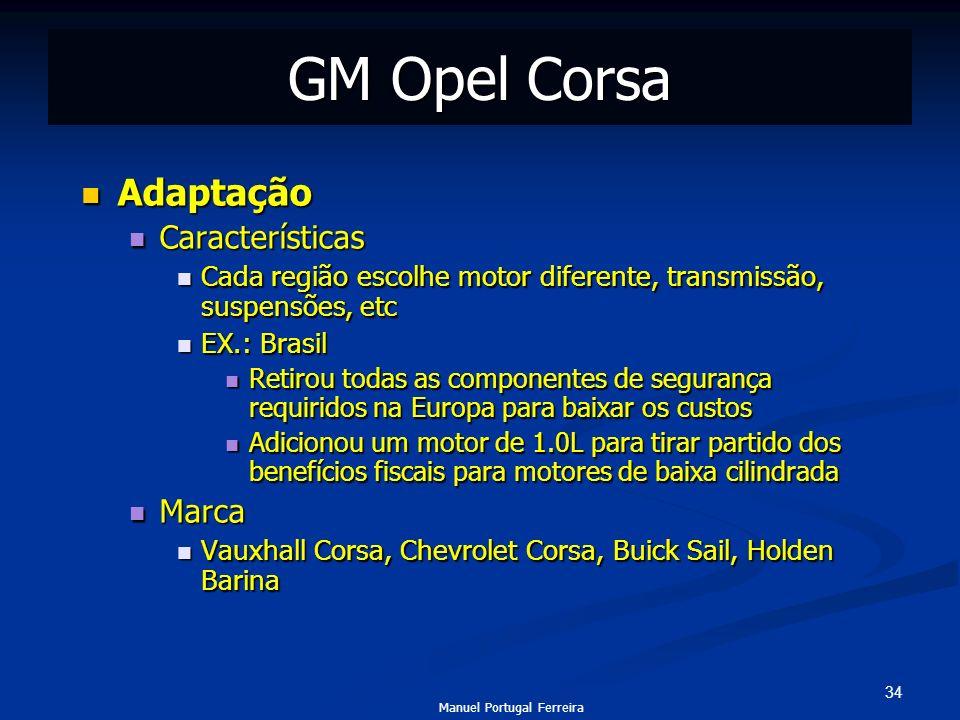 34 GM Opel Corsa Adaptação Adaptação Características Características Cada região escolhe motor diferente, transmissão, suspensões, etc Cada região esc