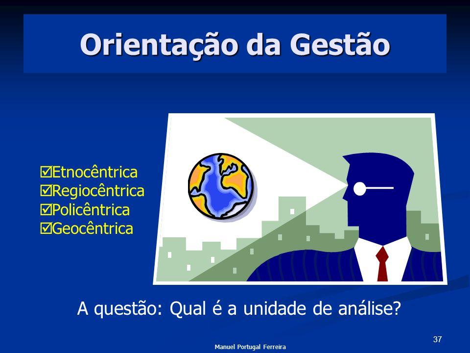 37 Orientação da Gestão Etnocêntrica Regiocêntrica Policêntrica Geocêntrica A questão: Qual é a unidade de análise? Manuel Portugal Ferreira
