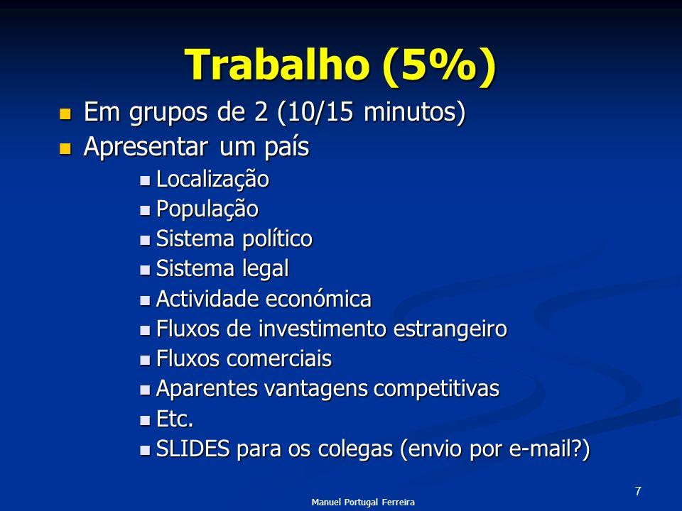 7 Trabalho (5%) Em grupos de 2 (10/15 minutos) Em grupos de 2 (10/15 minutos) Apresentar um país Apresentar um país Localização Localização População