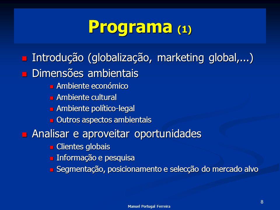 8 Programa (1) Introdução (globalização, marketing global,...) Introdução (globalização, marketing global,...) Dimensões ambientais Dimensões ambienta