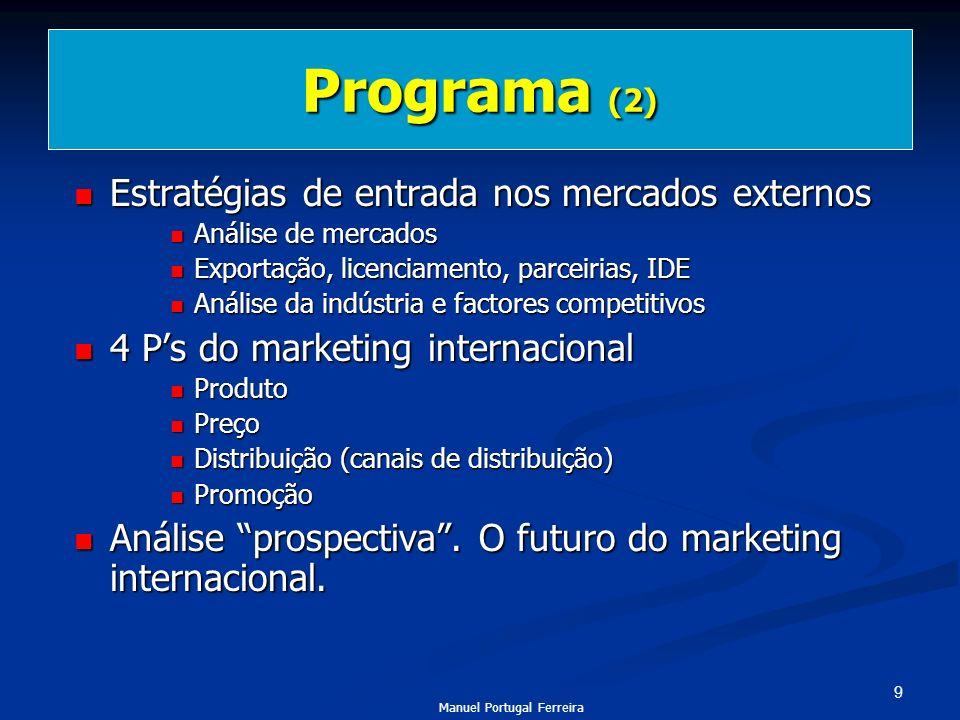 9 Programa (2) Estratégias de entrada nos mercados externos Estratégias de entrada nos mercados externos Análise de mercados Análise de mercados Expor