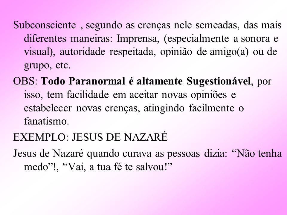 Subconsciente, segundo as crenças nele semeadas, das mais diferentes maneiras: Imprensa, (especialmente a sonora e visual), autoridade respeitada, opi