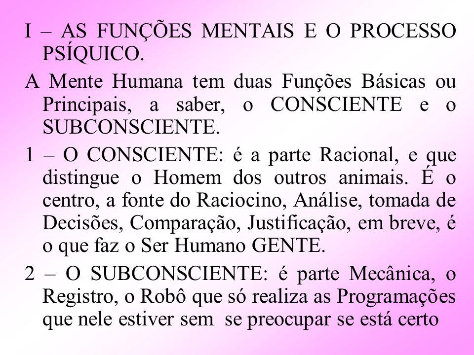 I – AS FUNÇÕES MENTAIS E O PROCESSO PSÍQUICO. A Mente Humana tem duas Funções Básicas ou Principais, a saber, o CONSCIENTE e o SUBCONSCIENTE. 1 – O CO