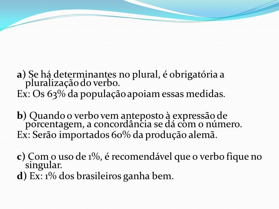 a) Se há determinantes no plural, é obrigatória a pluralização do verbo. Ex: Os 63% da população apoiam essas medidas. b) Quando o verbo vem anteposto