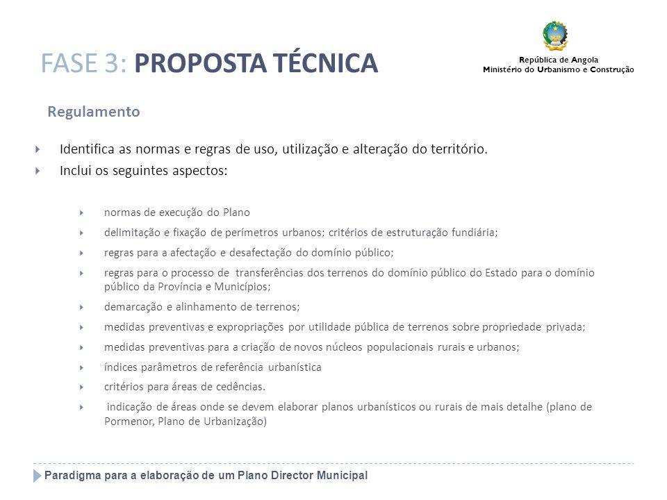 Paradigma para a elaboração de um Plano Director Municipal República de Angola Ministério do Urbanismo e Construção FASE 3: PROPOSTA TÉCNICA Regulamen