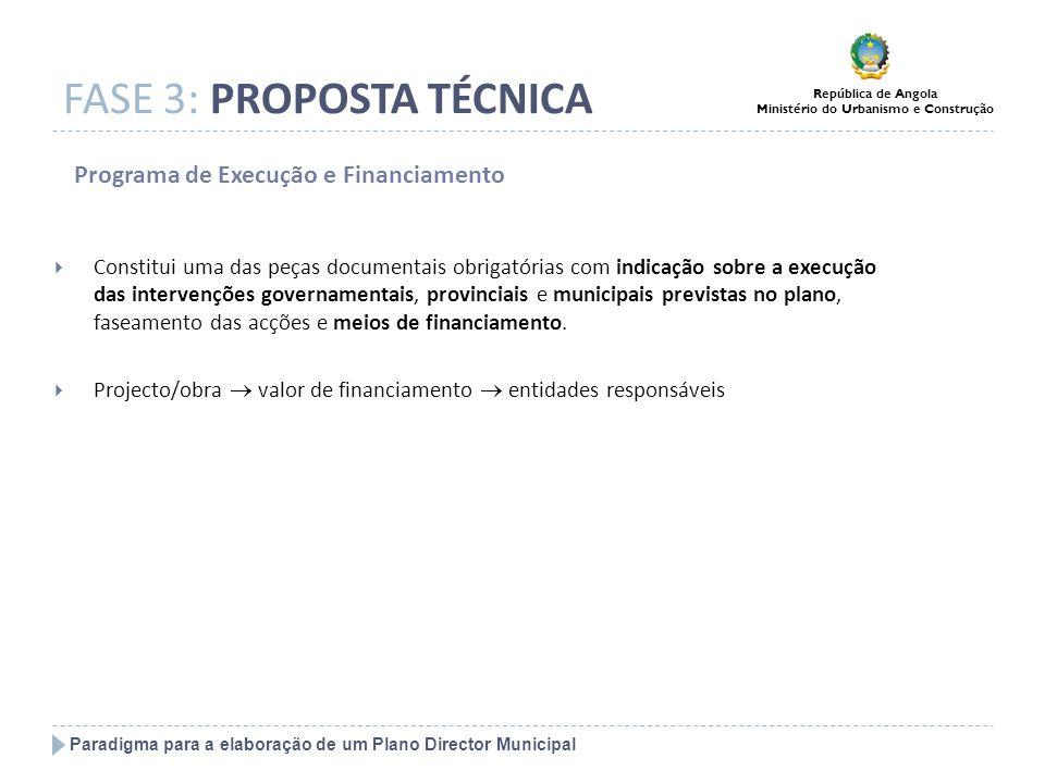 Paradigma para a elaboração de um Plano Director Municipal República de Angola Ministério do Urbanismo e Construção FASE 3: PROPOSTA TÉCNICA Programa