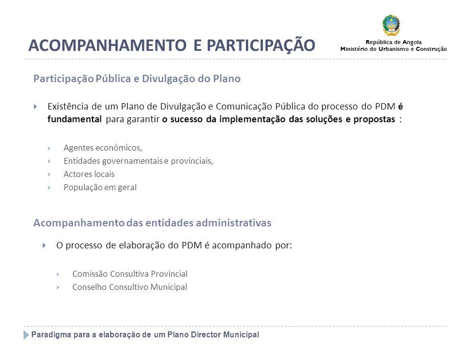 Paradigma para a elaboração de um Plano Director Municipal República de Angola Ministério do Urbanismo e Construção ACOMPANHAMENTO E PARTICIPAÇÃO O pr