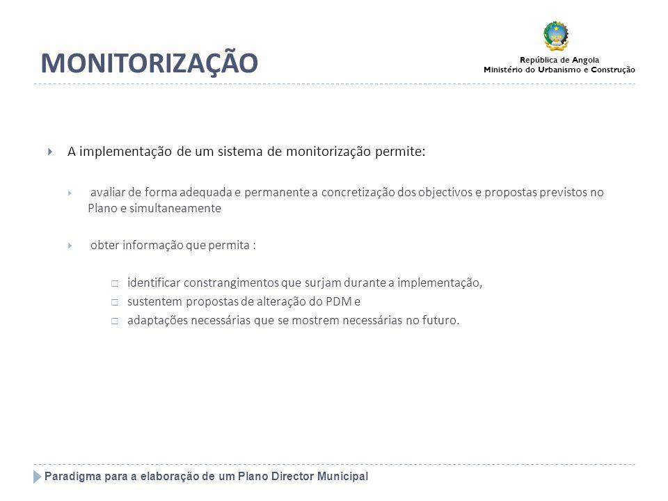Paradigma para a elaboração de um Plano Director Municipal República de Angola Ministério do Urbanismo e Construção MONITORIZAÇÃO A implementação de u