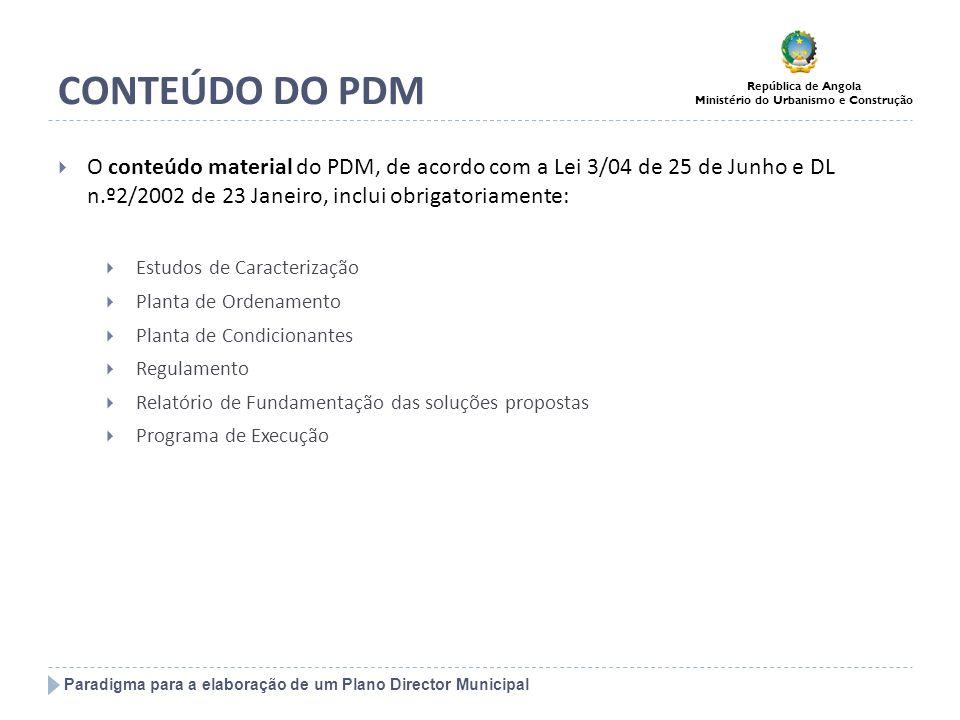 Paradigma para a elaboração de um Plano Director Municipal República de Angola Ministério do Urbanismo e Construção CONTEÚDO DO PDM O conteúdo materia
