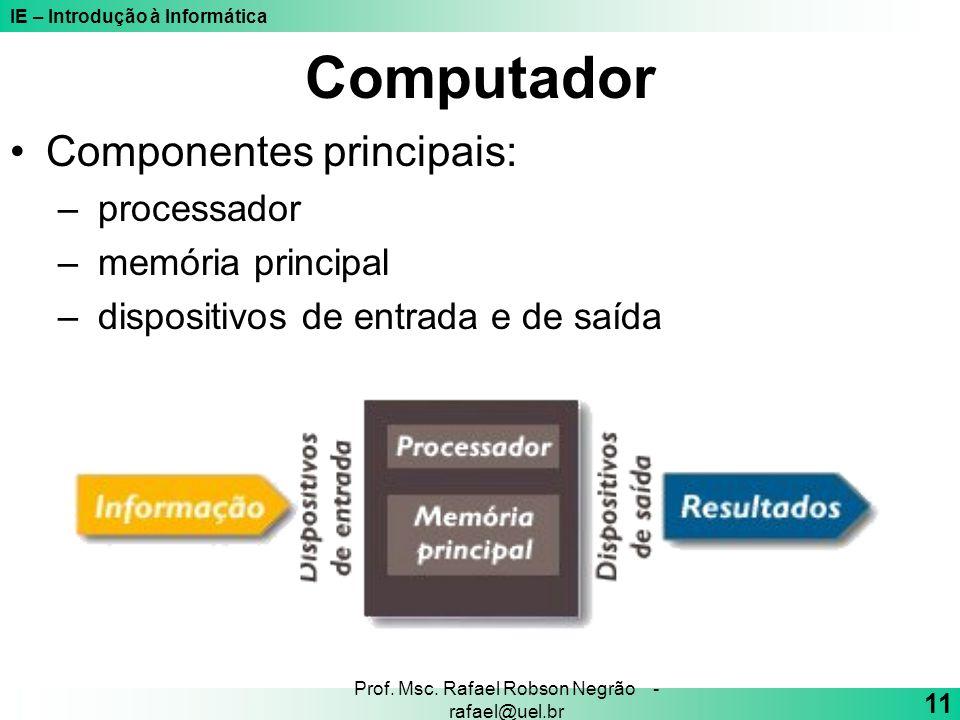 IE – Introdução à Informática 11 Prof. Msc. Rafael Robson Negrão - rafael@uel.br Computador Componentes principais: – processador – memória principal